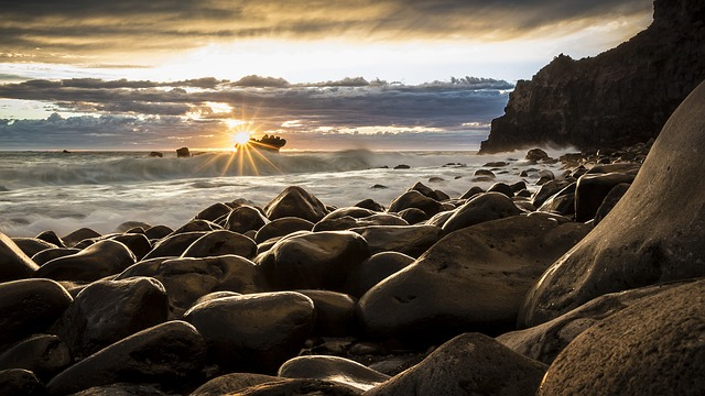 sunrise, seascape, new zealand
